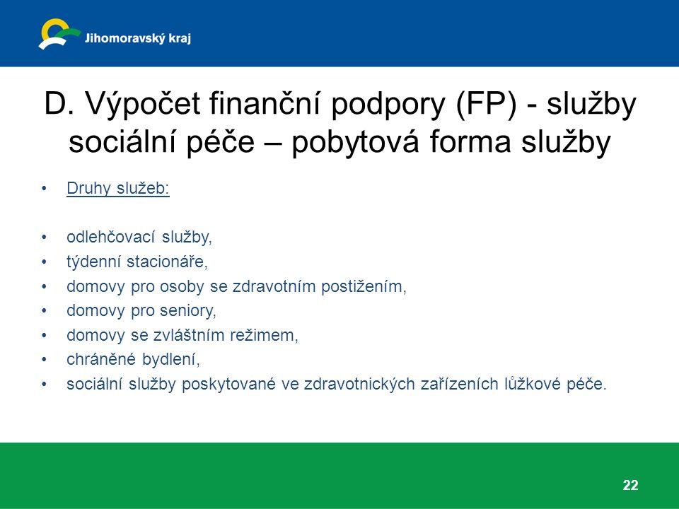 D. Výpočet finanční podpory (FP) - služby sociální péče – pobytová forma služby Druhy služeb: odlehčovací služby, týdenní stacionáře, domovy pro osoby