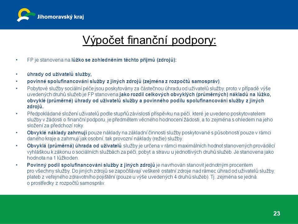 Výpočet finanční podpory: 23 FP je stanovena na lůžko se zohledněním těchto příjmů (zdrojů): úhrady od uživatelů služby, povinné spolufinancování služby z jiných zdrojů (zejména z rozpočtů samospráv).