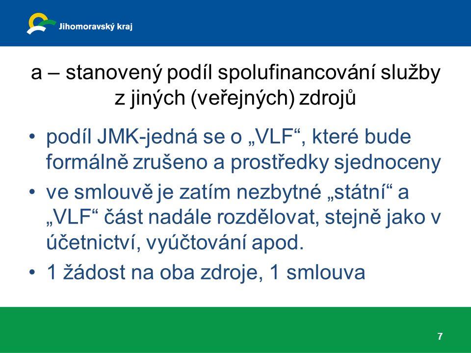"""a – stanovený podíl spolufinancování služby z jiných (veřejných) zdrojů podíl JMK-jedná se o """"VLF , které bude formálně zrušeno a prostředky sjednoceny ve smlouvě je zatím nezbytné """"státní a """"VLF část nadále rozdělovat, stejně jako v účetnictví, vyúčtování apod."""