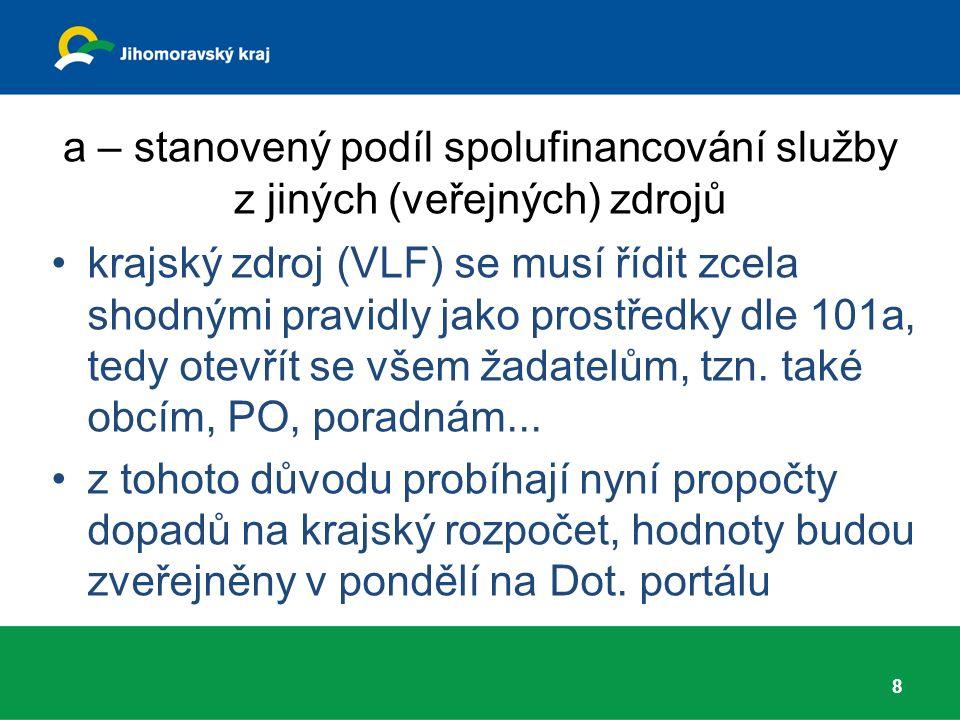 a – stanovený podíl spolufinancování služby z jiných (veřejných) zdrojů krajský zdroj (VLF) se musí řídit zcela shodnými pravidly jako prostředky dle 101a, tedy otevřít se všem žadatelům, tzn.