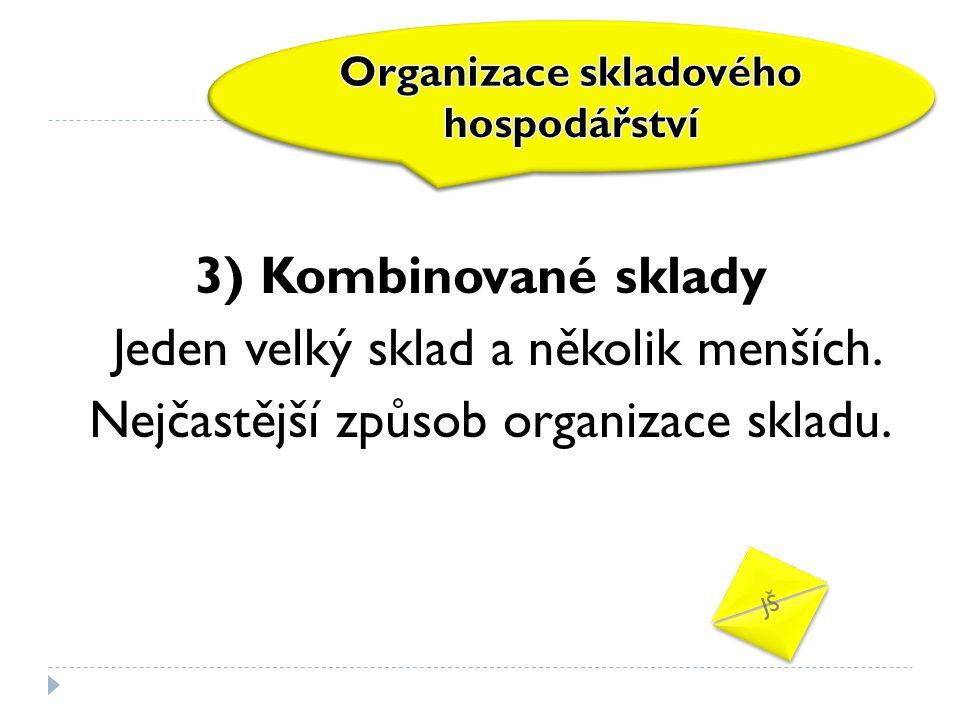 3) Kombinované sklady Jeden velký sklad a několik menších. Nejčastější způsob organizace skladu. JŠ