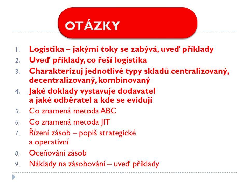 1. Logistika ‒ jakými toky se zabývá, uveď příklady 2.