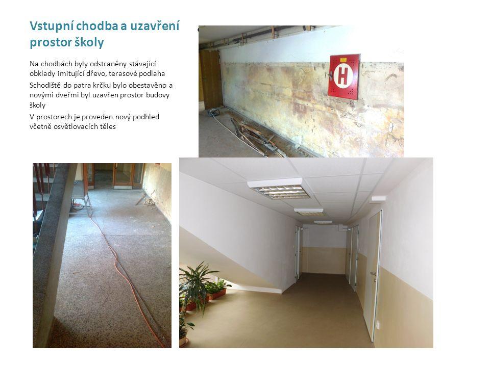 Vstupní chodba a uzavření prostor školy - Na chodbách byly odstraněny stávající obklady imitující dřevo, terasové podlaha Schodiště do patra krčku byl