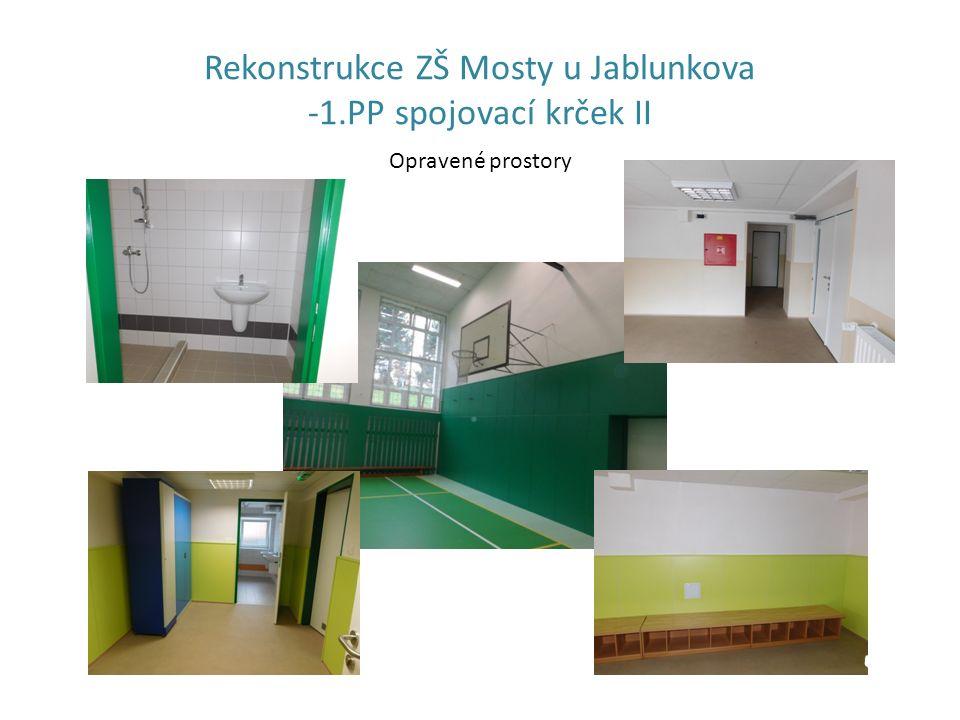 Rekonstrukce ZŠ Mosty u Jablunkova -1.PP spojovací krček II Opravené prostory