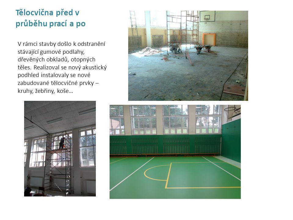 Tělocvična před v průběhu prací a po V rámci stavby došlo k odstranění stávající gumové podlahy, dřevěných obkladů, otopných těles. Realizoval se nový