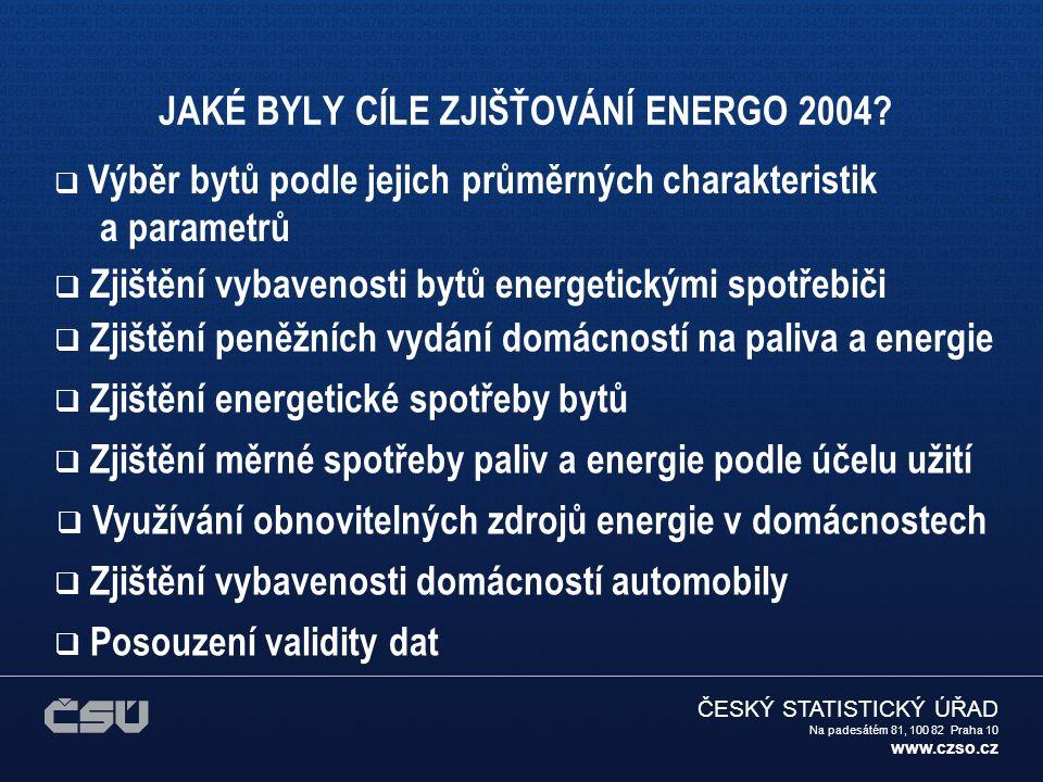 ČESKÝ STATISTICKÝ ÚŘAD Na padesátém 81, 100 82 Praha 10 www.czso.cz REALIZACE ZJIŠŤOVÁNÍ 1.Využití zkušeností z výběrového zjišťování ENERGO 1997 2.Charakteristika a rozsah výběrového souboruCharakteristika a rozsah výběrového souboru 3.Dotazník A 4.Dotazník B 5.Vysvětlivky k dotazníkům 6.Průběh zjišťováníPrůběh zjišťování 7.Organizace zjišťování ENERGO 2004 8.Zpracování zjištěných dat