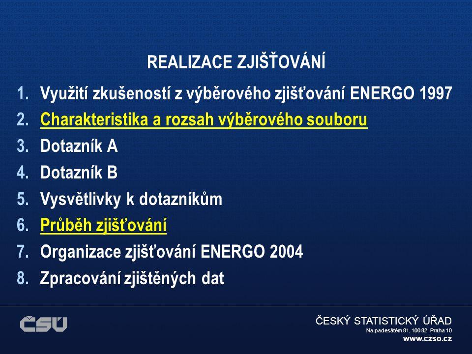 ČESKÝ STATISTICKÝ ÚŘAD Na padesátém 81, 100 82 Praha 10 www.czso.cz Charakteristika a rozsah výběrového souboru Výběrový soubor zvolen na úrovni cca 1 % trvale obydlených bytů, tj.přibližně 40 000.