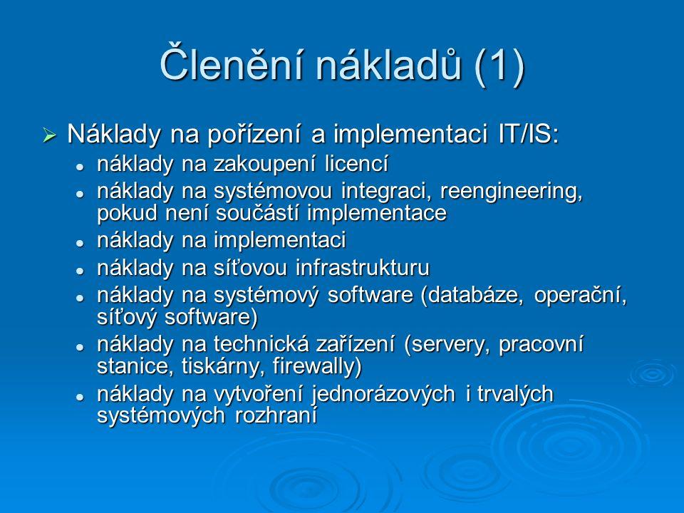 Členění nákladů (1)  Náklady na pořízení a implementaci IT/IS: náklady na zakoupení licencí náklady na zakoupení licencí náklady na systémovou integr