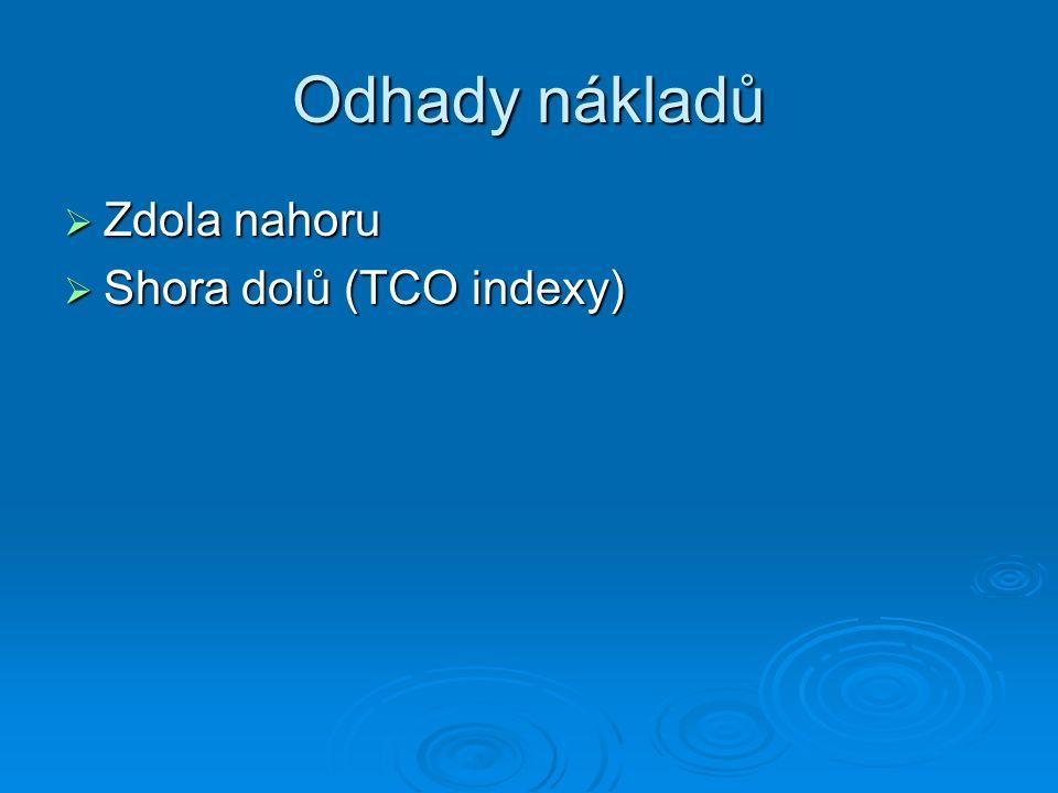 Odhady nákladů  Zdola nahoru  Shora dolů (TCO indexy)