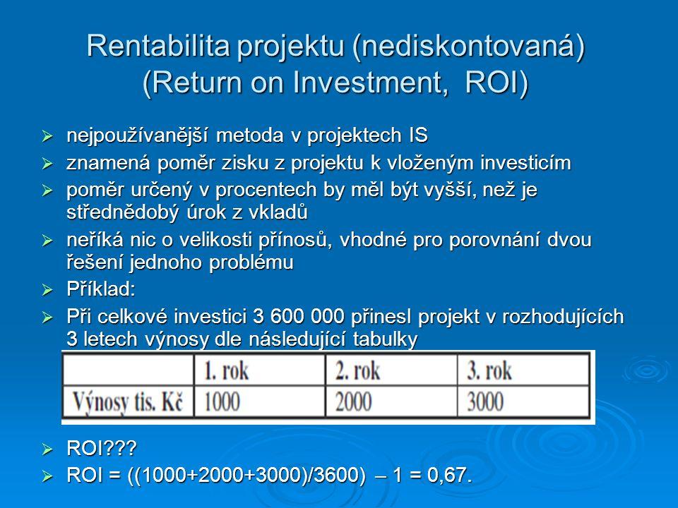 Rentabilita projektu (nediskontovaná) (Return on Investment, ROI)  nejpoužívanější metoda v projektech IS  znamená poměr zisku z projektu k vloženým