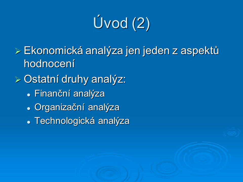 Úvod (2)  Ekonomická analýza jen jeden z aspektů hodnocení  Ostatní druhy analýz: Finanční analýza Finanční analýza Organizační analýza Organizační