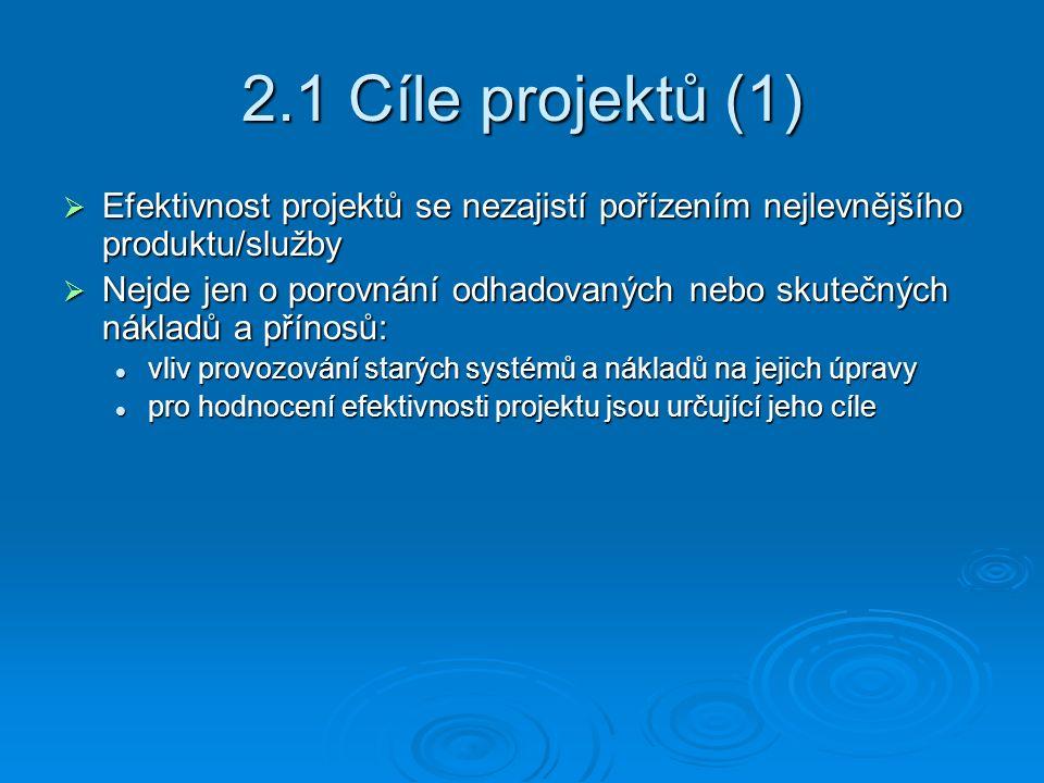 2.1 Cíle projektů (1)  Efektivnost projektů se nezajistí pořízením nejlevnějšího produktu/služby  Nejde jen o porovnání odhadovaných nebo skutečných