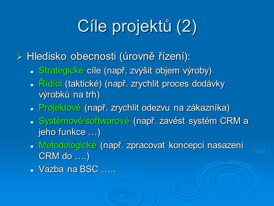 Cíle projektů (2)  Hledisko obecnosti (úrovně řízení): Strategické cíle (např. zvýšit objem výroby) Strategické cíle (např. zvýšit objem výroby) Řídí