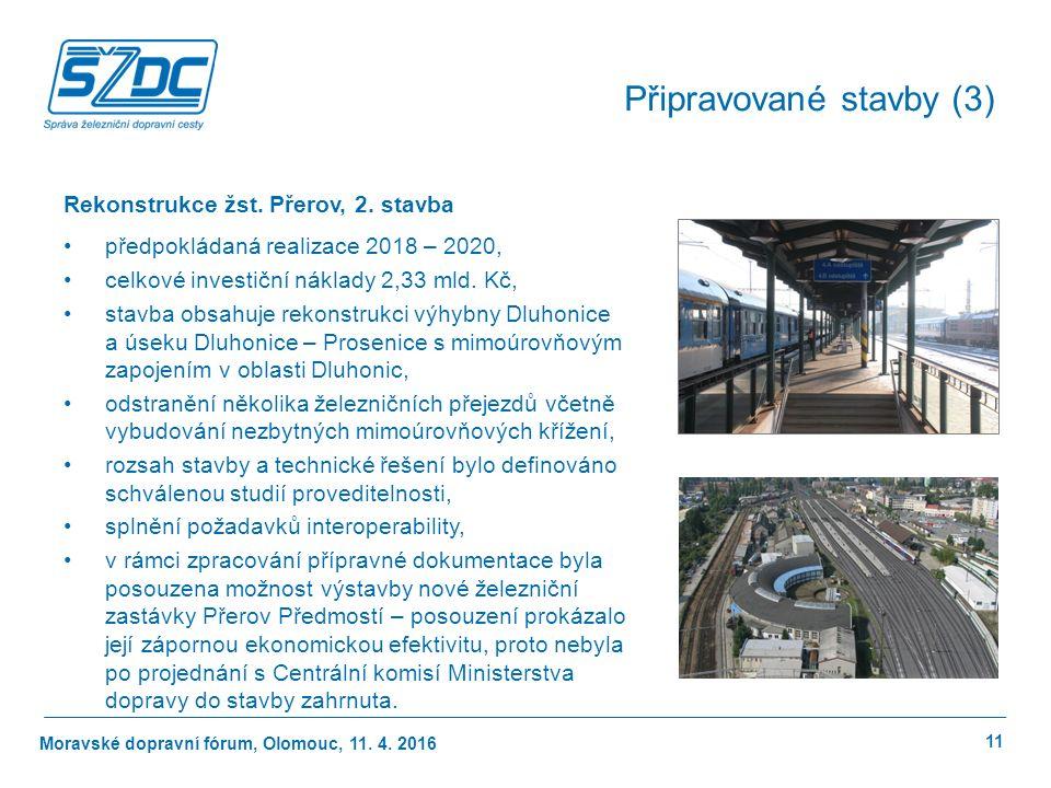 Moravské dopravní fórum, Olomouc, 11.4. 2016 11 Připravované stavby (3) Rekonstrukce žst.
