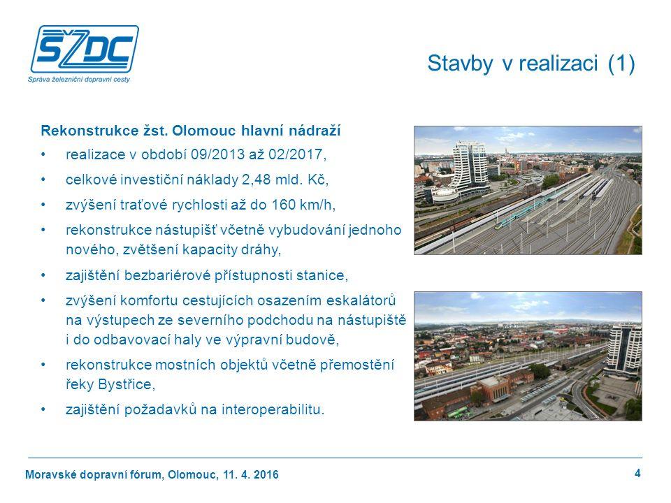 Moravské dopravní fórum, Olomouc, 11.4. 2016 4 Stavby v realizaci (1) Rekonstrukce žst.