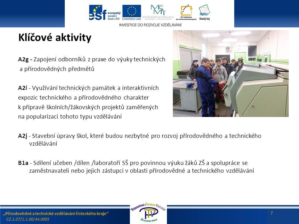 """""""Přírodovědné a technické vzdělávání Ústeckého kraje CZ.1.07/1.1.00/44.0005 7 Klíčové aktivity A2g - Zapojení odborníků z praxe do výuky technických a přírodovědných předmětů A2i - Využívání technických památek a interaktivních expozic technického a přírodovědného charakter k přípravě školních/žákovských projektů zaměřených na popularizaci tohoto typu vzdělávání A2j - Stavební úpravy škol, které budou nezbytné pro rozvoj přírodovědného a technického vzdělávání B1a - Sdílení učeben /dílen /laboratoří SŠ pro povinnou výuku žáků ZŠ a spolupráce se zaměstnavateli nebo jejich zástupci v oblasti přírodovědné a technického vzdělávání"""