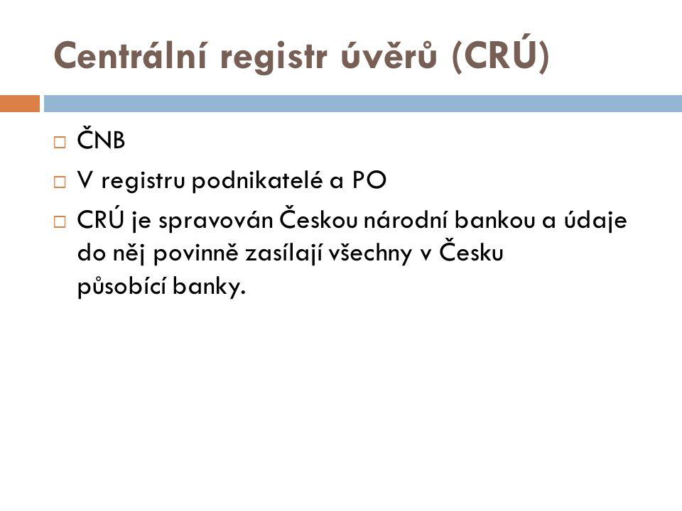 Centrální registr úvěrů (CRÚ)  ČNB  V registru podnikatelé a PO  CRÚ je spravován Českou národní bankou a údaje do něj povinně zasílají všechny v Česku působící banky.