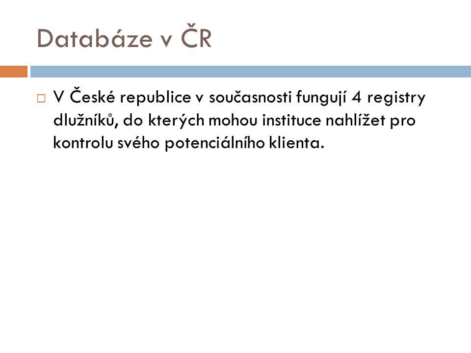 Databáze v ČR  V České republice v současnosti fungují 4 registry dlužníků, do kterých mohou instituce nahlížet pro kontrolu svého potenciálního klienta.