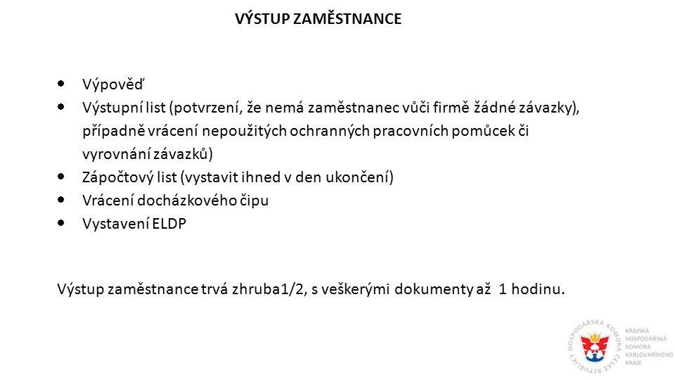 VÝSTUP ZAMĚSTNANCE  Výpověď  Výstupní list (potvrzení, že nemá zaměstnanec vůči firmě žádné závazky), případně vrácení nepoužitých ochranných pracov