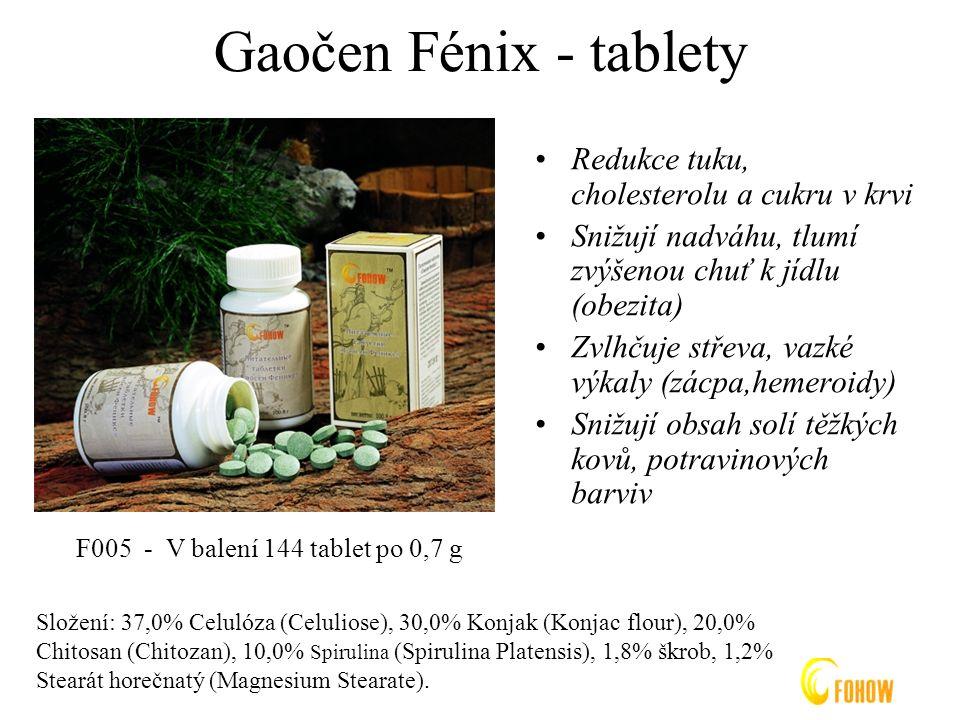 Gaočen Fénix - tablety Redukce tuku, cholesterolu a cukru v krvi Snižují nadváhu, tlumí zvýšenou chuť k jídlu (obezita) Zvlhčuje střeva, vazké výkaly (zácpa,hemeroidy) Snižují obsah solí těžkých kovů, potravinových barviv F005 - V balení 144 tablet po 0,7 g Složení: 37,0% Celulóza (Celuliose), 30,0% Konjak (Konjac flour), 20,0% Chitosan (Chitozan), 10,0% Spirulina (Spirulina Platensis), 1,8% škrob, 1,2% Stearát horečnatý (Magnesium Stearate).