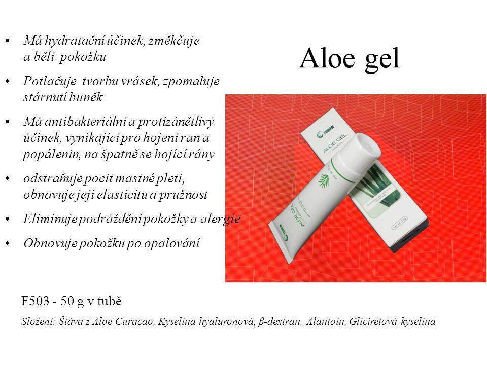 Aloe gel Má hydratační účinek, změkčuje a bělí pokožku Potlačuje tvorbu vrásek, zpomaluje stárnutí buněk Má antibakteriální a protizánětlivý účinek, vynikající pro hojení ran a popálenin, na špatně se hojící rány odstraňuje pocit mastné pleti, obnovuje jeji elasticitu a pružnost Eliminuje podráždění pokožky a alergie Obnovuje pokožku po opalování F503 - 50 g v tubě Složení: Štáva z Aloe Curacao, Kyselina hyaluronová, β-dextran, Alantoin, Gliciretová kyselina