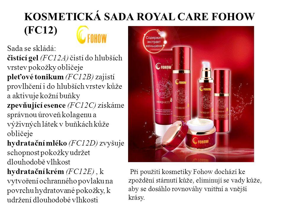 KOSMETICKÁ SADA ROYAL CARE FOHOW (FC12) Sada se skládá: čistící gel (FC12A) čistí do hlubších vrstev pokožky obličeje pleťové tonikum (FC12B) zajistí provlhčení i do hlubších vrstev kůže a aktivuje kožní buňky zpevňující esence (FC12C) získáme správnou úroveň kolagenu a výživných látek v buňkách kůže obličeje hydratační mléko (FC12D) zvyšuje schopnost pokožky udržet dlouhodobě vlhkost hydratační krém (FC12E), k vytvoření ochranného povlaku na povrchu hydratované pokožky, k udržení dlouhodobé vlhkosti Při použití kosmetiky Fohow dochází ke zpoždění stárnutí kůže, eliminují se vady kůže, aby se dosáhlo rovnováhy vnitřní a vnější krásy.