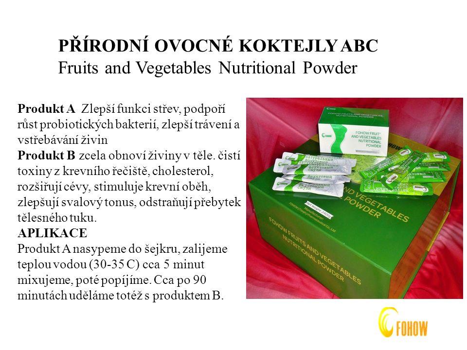 PŘÍRODNÍ OVOCNÉ KOKTEJLY ABC Fruits and Vegetables Nutritional Powder Produkt A Zlepší funkci střev, podpoří růst probiotických bakterií, zlepší trávení a vstřebávání živin Produkt B zcela obnoví živiny v těle.
