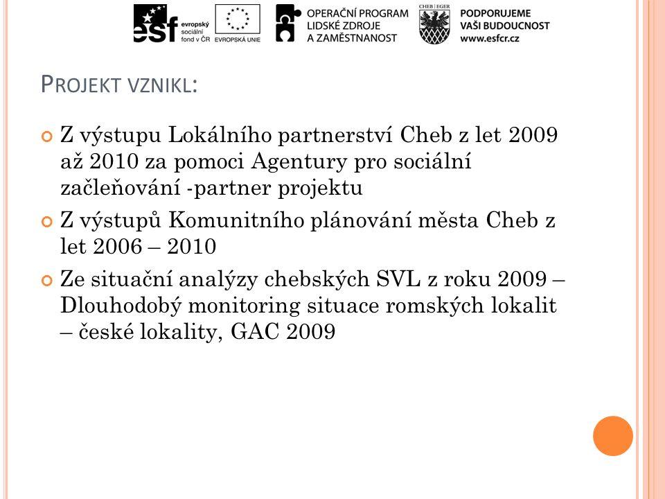 P ROJEKT VZNIKL : Z výstupu Lokálního partnerství Cheb z let 2009 až 2010 za pomoci Agentury pro sociální začleňování -partner projektu Z výstupů Komunitního plánování města Cheb z let 2006 – 2010 Ze situační analýzy chebských SVL z roku 2009 – Dlouhodobý monitoring situace romských lokalit – české lokality, GAC 2009