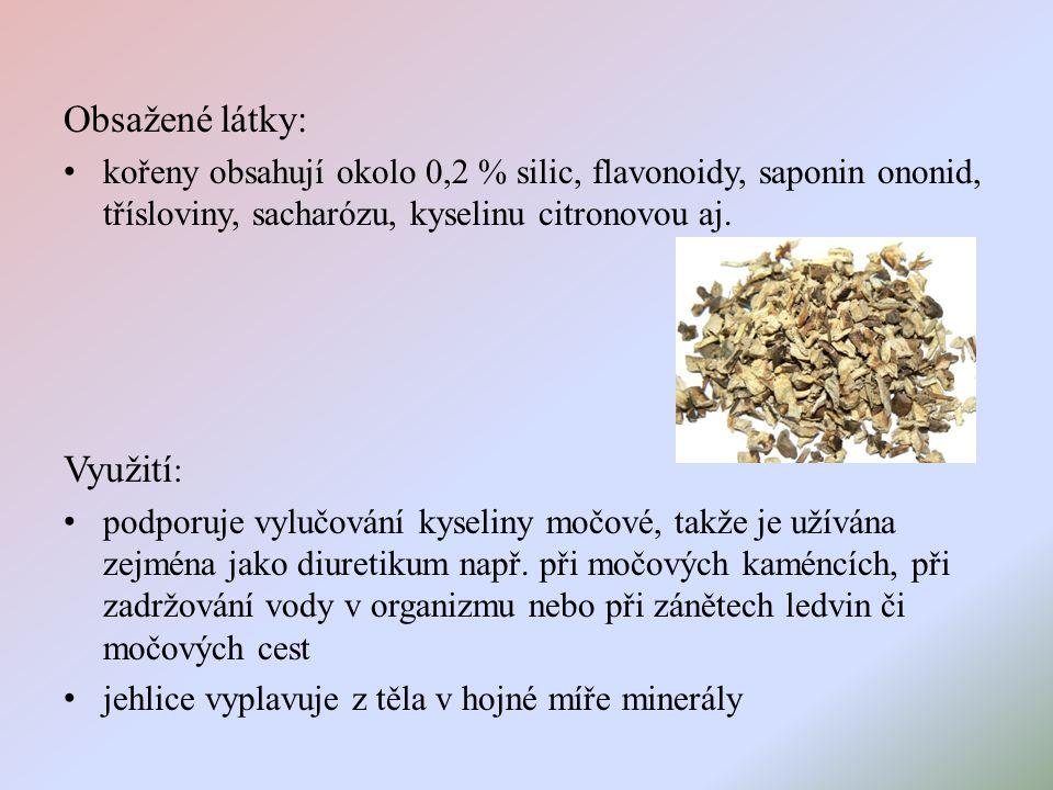 Obsažené látky: kořeny obsahují okolo 0,2 % silic, flavonoidy, saponin ononid, třísloviny, sacharózu, kyselinu citronovou aj.
