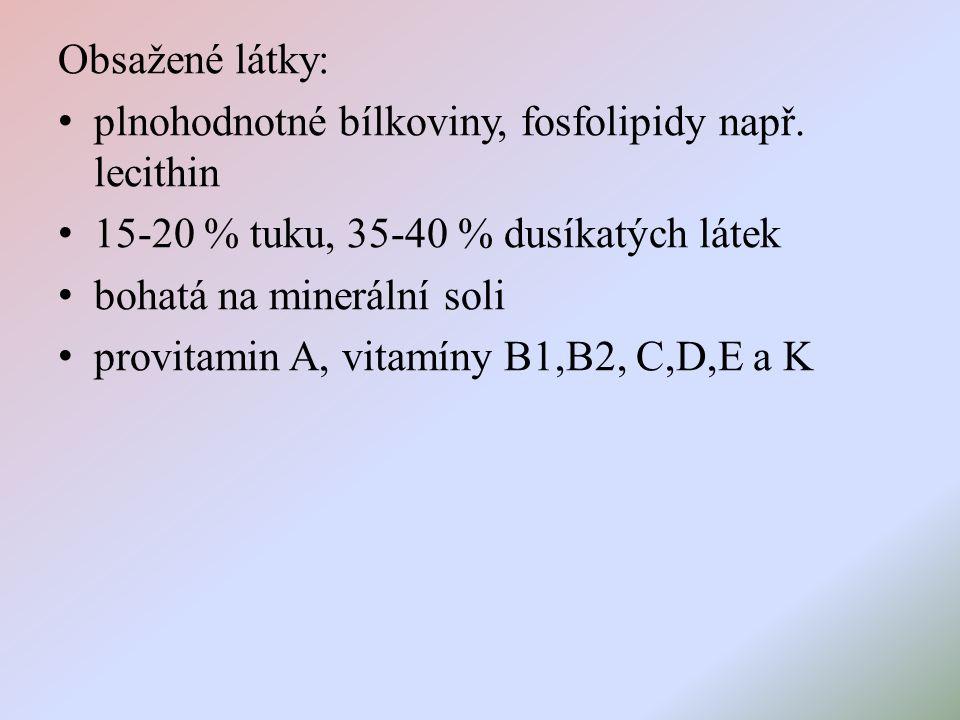 Obsažené látky: plnohodnotné bílkoviny, fosfolipidy např.