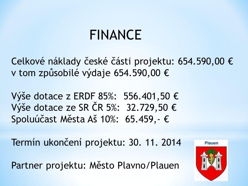 Celkové náklady české části projektu: 654.590,00 € v tom způsobilé výdaje 654.590,00 € Výše dotace z ERDF 85%: 556.401,50 € Výše dotace ze SR ČR 5%: 32.729,50 € Spoluúčast Města Aš 10%: 65.459,- € Termín ukončení projektu: 30.