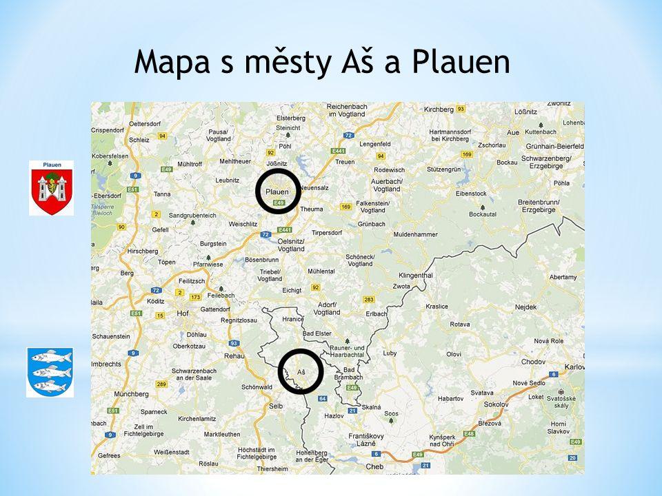 Mapa s městy Aš a Plauen