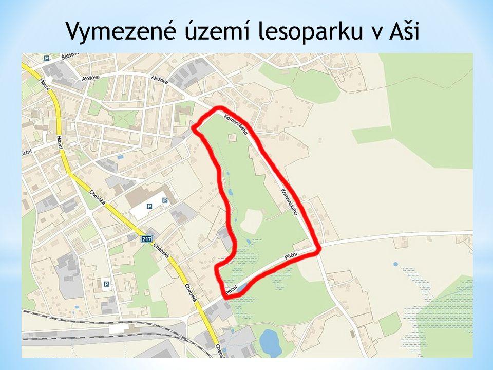 Vymezené území lesoparku v Aši