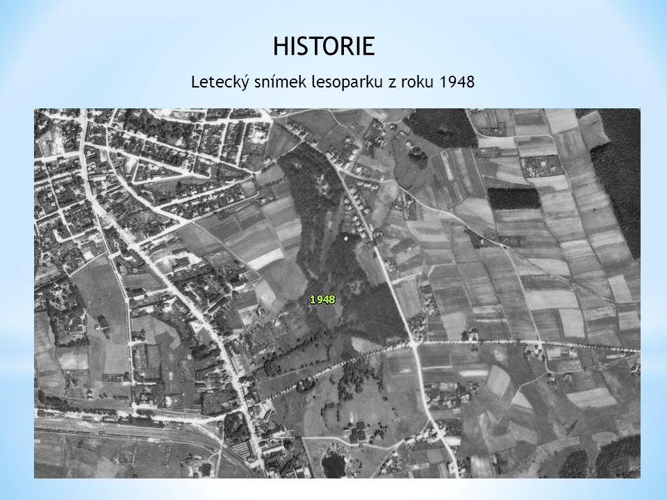Letecký snímek lesoparku z roku 1948 HISTORIE