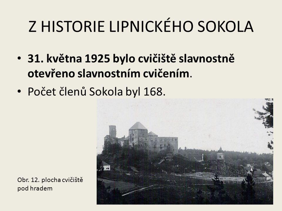 Z HISTORIE LIPNICKÉHO SOKOLA 31. května 1925 bylo cvičiště slavnostně otevřeno slavnostním cvičením. Počet členů Sokola byl 168. Obr. 12. plocha cviči