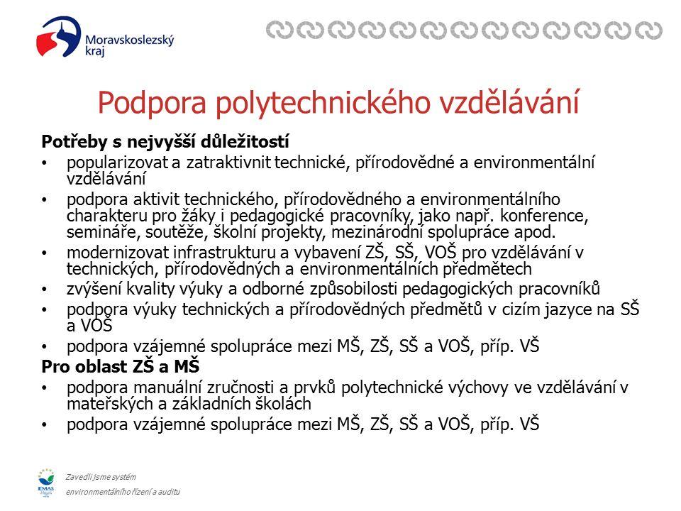 Zavedli jsme systém environmentálního řízení a auditu Podpora polytechnického vzdělávání Potřeby s nejvyšší důležitostí popularizovat a zatraktivnit t