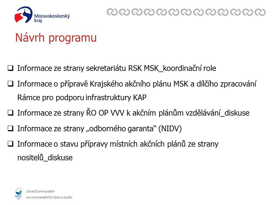 Zavedli jsme systém environmentálního řízení a auditu Návrh programu  Informace ze strany sekretariátu RSK MSK_koordinační role  Informace o příprav