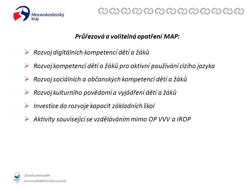 Zavedli jsme systém environmentálního řízení a auditu Průřezová a volitelná opatření MAP:  Rozvoj digitálních kompetencí dětí a žáků  Rozvoj kompete