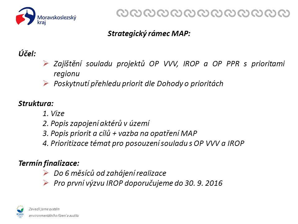 Zavedli jsme systém environmentálního řízení a auditu Strategický rámec MAP: Účel:  Zajištění souladu projektů OP VVV, IROP a OP PPR s prioritami regionu  Poskytnutí přehledu priorit dle Dohody o prioritách Struktura: 1.