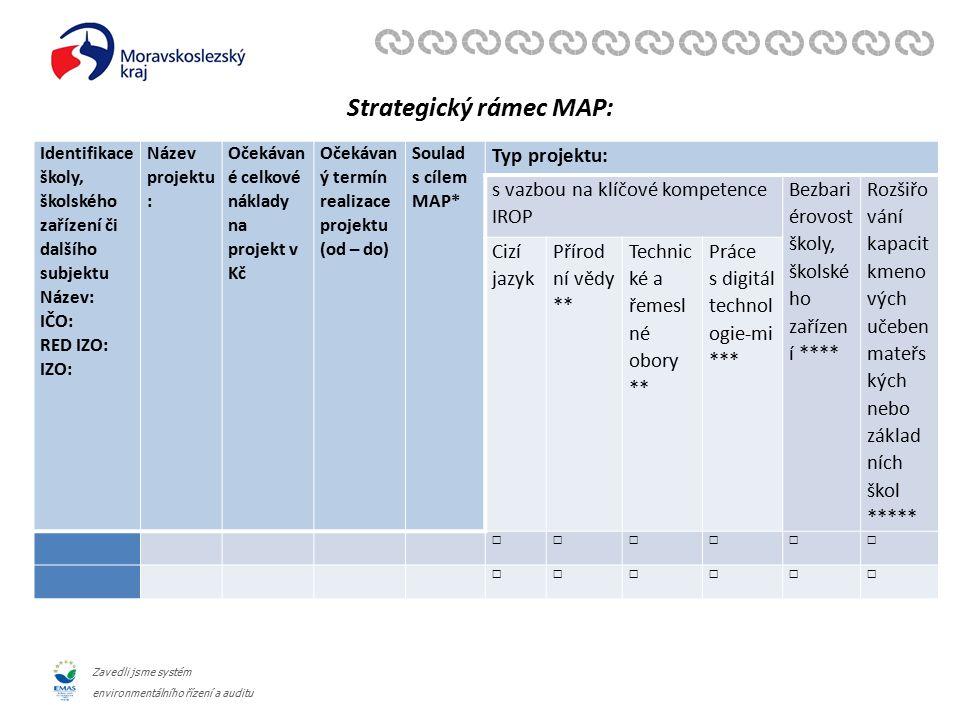 Zavedli jsme systém environmentálního řízení a auditu Strategický rámec MAP: Identifikace školy, školského zařízení či dalšího subjektu Název: IČO: RED IZO: IZO: Název projektu : Očekávan é celkové náklady na projekt v Kč Očekávan ý termín realizace projektu (od – do) Soulad s cílem MAP* Typ projektu: s vazbou na klíčové kompetence IROP Bezbari érovost školy, školské ho zařízen í **** Rozšiřo vání kapacit kmeno vých učeben mateřs kých nebo základ ních škol ***** Cizí jazyk Přírod ní vědy ** Technic ké a řemesl né obory ** Práce s digitál technol ogie-mi *** ☐☐☐☐☐☐ ☐☐☐☐☐☐