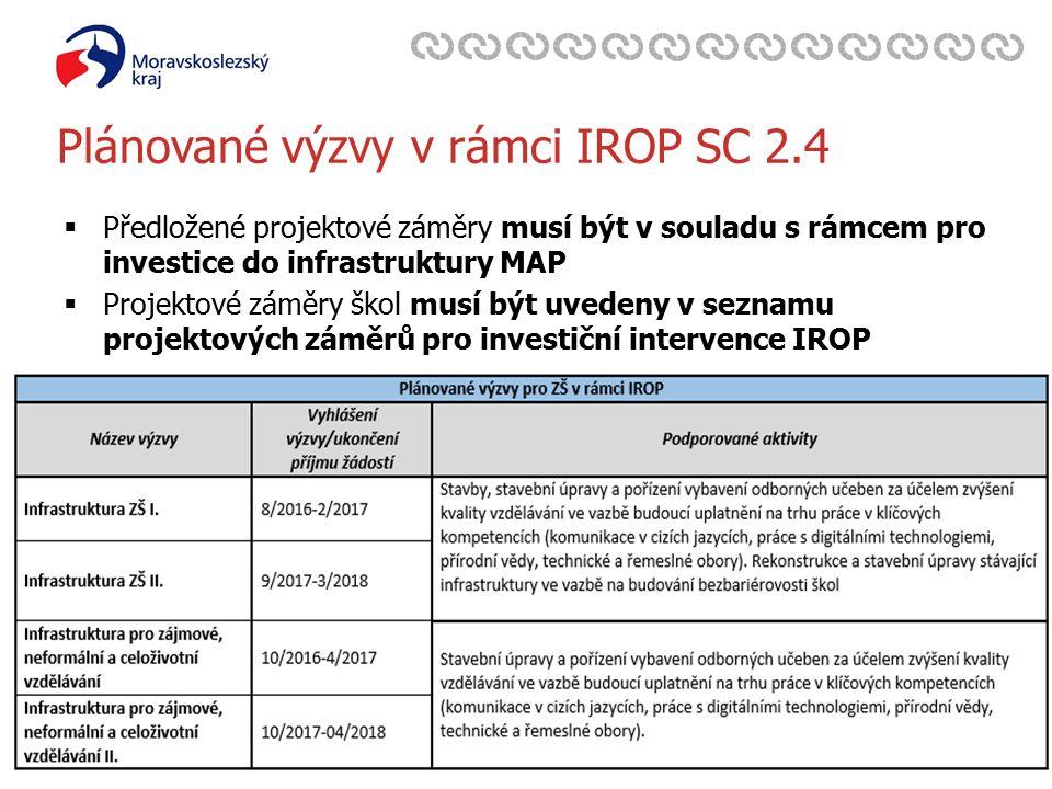 Zavedli jsme systém environmentálního řízení a auditu Plánované výzvy v rámci IROP SC 2.4  Předložené projektové záměry musí být v souladu s rámcem pro investice do infrastruktury MAP  Projektové záměry škol musí být uvedeny v seznamu projektových záměrů pro investiční intervence IROP