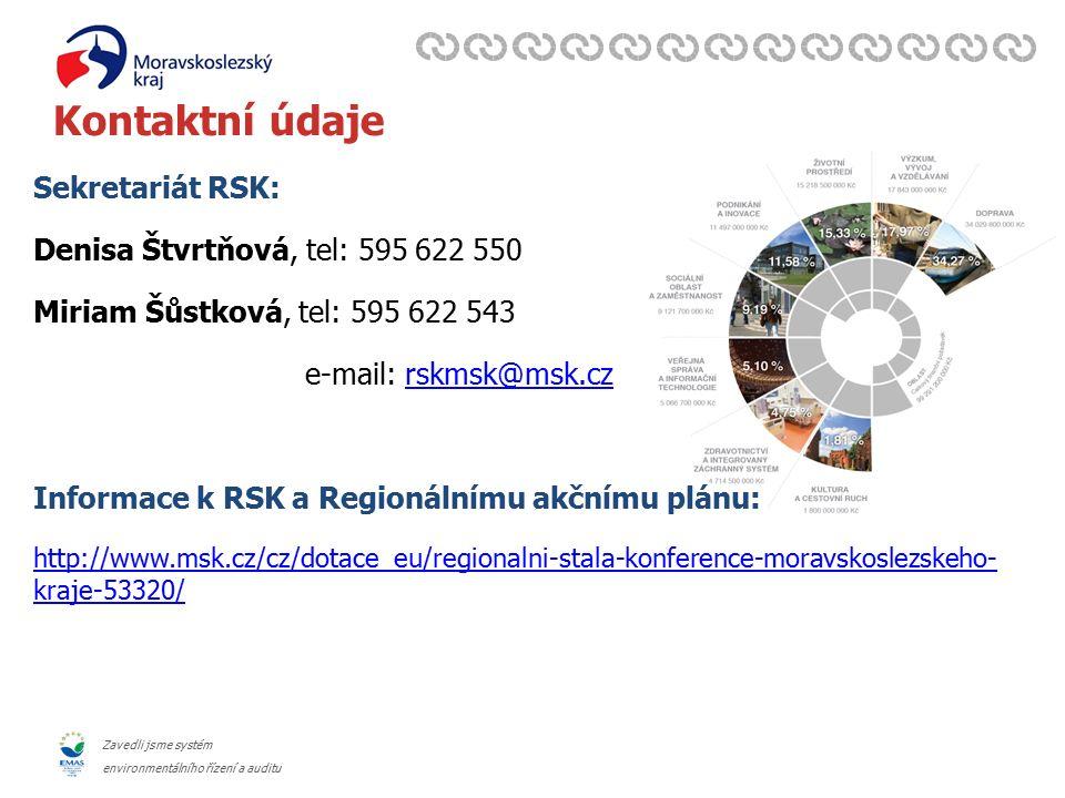 Zavedli jsme systém environmentálního řízení a auditu Kontaktní údaje Sekretariát RSK: Denisa Štvrtňová, tel: 595 622 550 Miriam Šůstková, tel: 595 622 543 e-mail: rskmsk@msk.czrskmsk@msk.cz Informace k RSK a Regionálnímu akčnímu plánu: http://www.msk.cz/cz/dotace_eu/regionalni-stala-konference-moravskoslezskeho- kraje-53320/