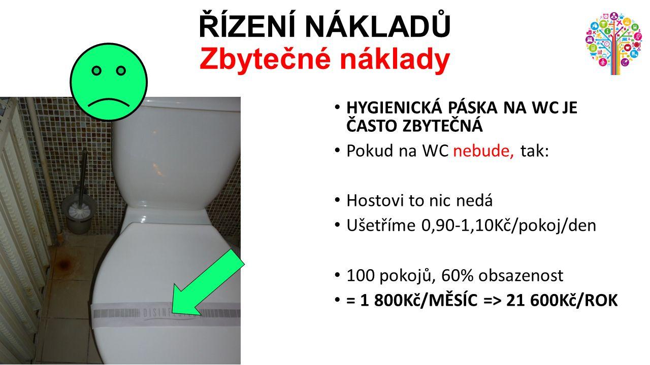 ŘÍZENÍ NÁKLADŮ Zbytečné náklady HYGIENICKÁ PÁSKA NA WC JE ČASTO ZBYTEČNÁ Pokud na WC nebude, tak: Hostovi to nic nedá Ušetříme 0,90-1,10Kč/pokoj/den 100 pokojů, 60% obsazenost = 1 800Kč/MĚSÍC => 21 600Kč/ROK