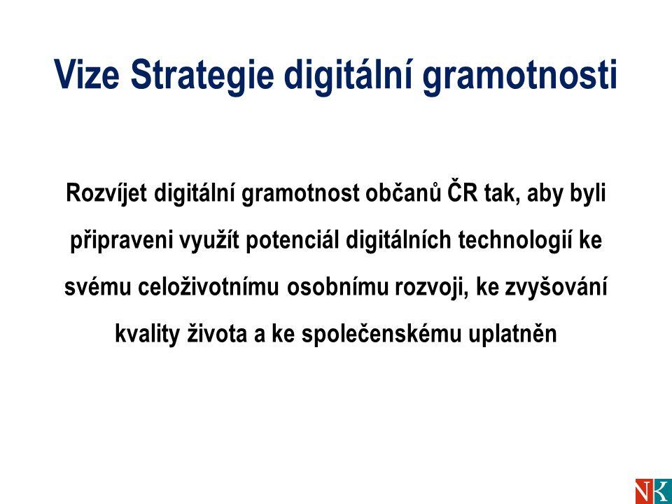 Vize Strategie digitální gramotnosti Rozvíjet digitální gramotnost občanů ČR tak, aby byli připraveni využít potenciál digitálních technologií ke svém