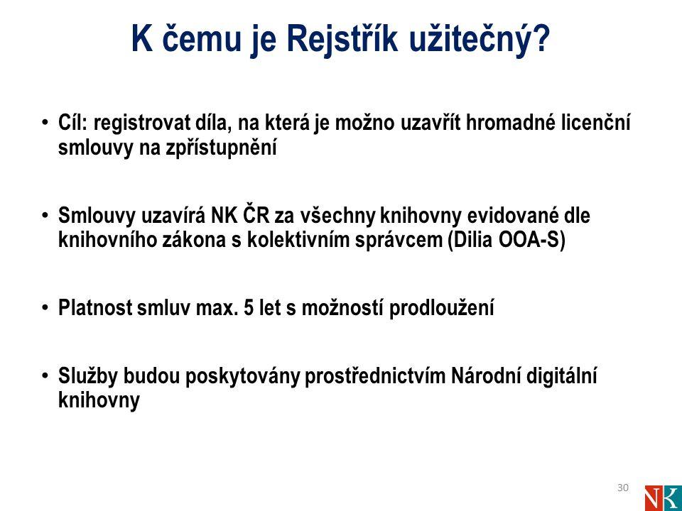 K čemu je Rejstřík užitečný? Cíl: registrovat díla, na která je možno uzavřít hromadné licenční smlouvy na zpřístupnění Smlouvy uzavírá NK ČR za všech