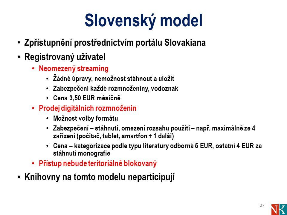 Slovenský model Zpřístupnění prostřednictvím portálu Slovakiana Registrovaný uživatel Neomezený streaming Žádné úpravy, nemožnost stáhnout a uložit Za