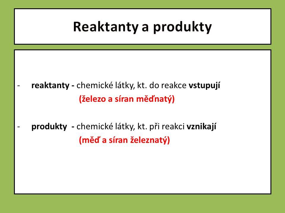 -reaktanty - chemické látky, kt.