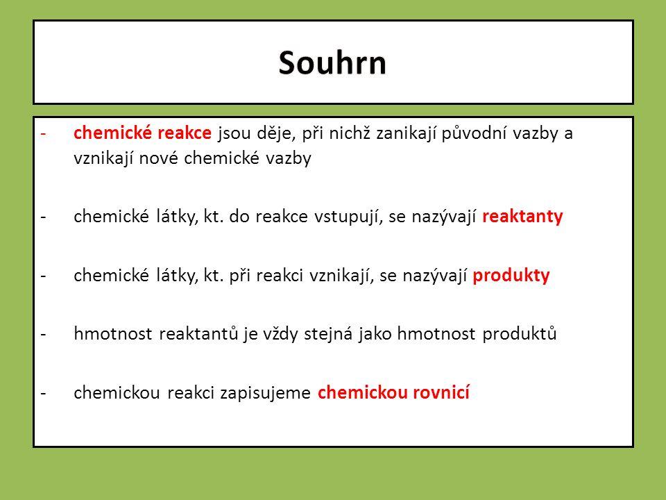 -chemické reakce jsou děje, při nichž zanikají původní vazby a vznikají nové chemické vazby -chemické látky, kt.
