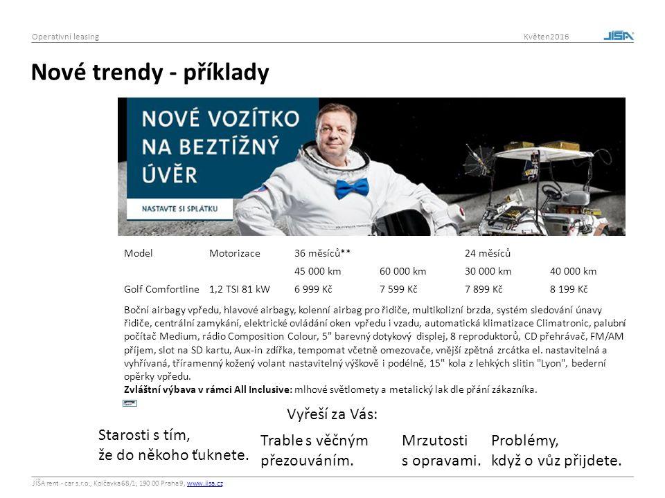 JÍŠA rent - car s.r.o., Kolčavka 68/1, 190 00 Praha 9, www.jisa.czwww.jisa.cz Operativní leasing Květen2016 Nové trendy - příklady ModelMotorizace36 m