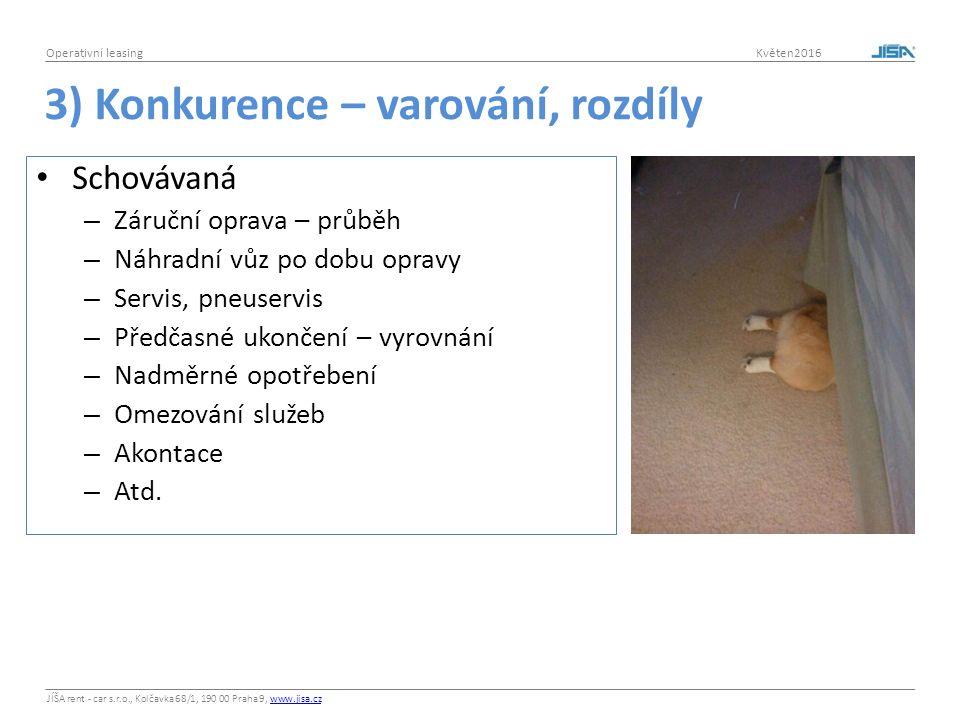 JÍŠA rent - car s.r.o., Kolčavka 68/1, 190 00 Praha 9, www.jisa.czwww.jisa.cz Operativní leasing Květen2016 3) Konkurence – varování, rozdíly Schováva